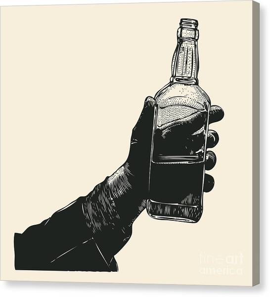 Engraving Canvas Print - Male Hand Holding Bottle Of Whiskey by Jumpingsack