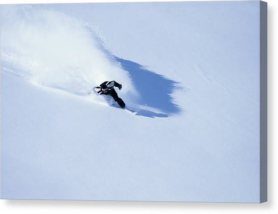 Male Off-piste Snowboarder On Fresh Canvas Print