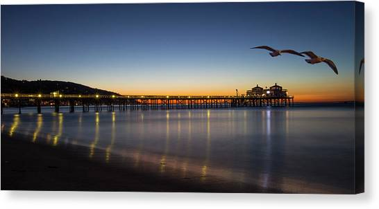 Malibu Pier At Sunrise Canvas Print