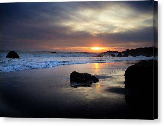 Canvas Print featuring the photograph Malibu Sunset by John Rodrigues