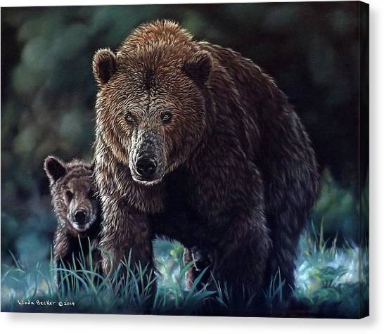 Mama Brown With Cubs Canvas Print