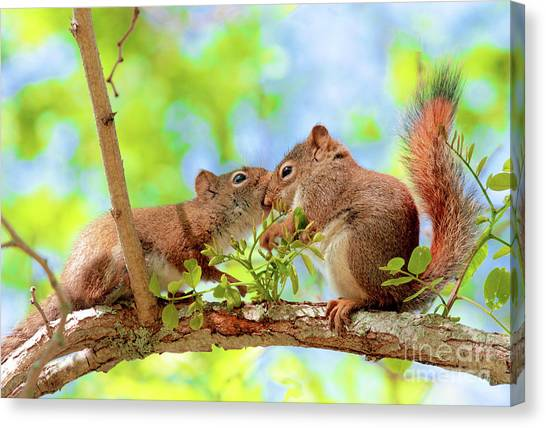 Mama Red Kissing Baby Canvas Print