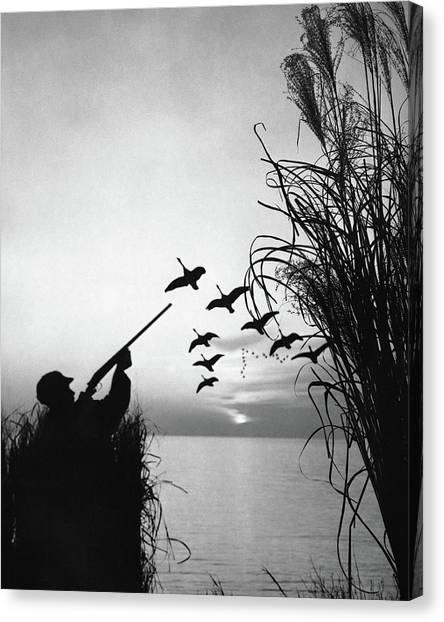 Man Duck-hunting Canvas Print