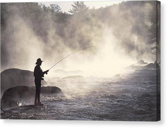 Man Fly-fishing In Contoocook River Canvas Print by David White