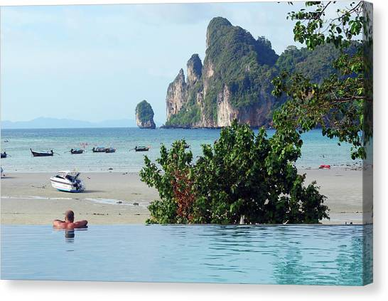 Phi Phi Island Canvas Print - Man In Swimming Pool by Thepurpledoor
