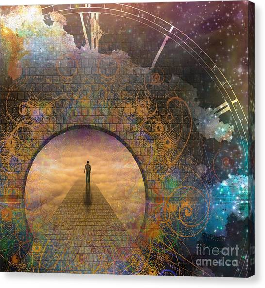 Worship Canvas Print - Man On Path And Doorway With Aged Clock by Bruce Rolff
