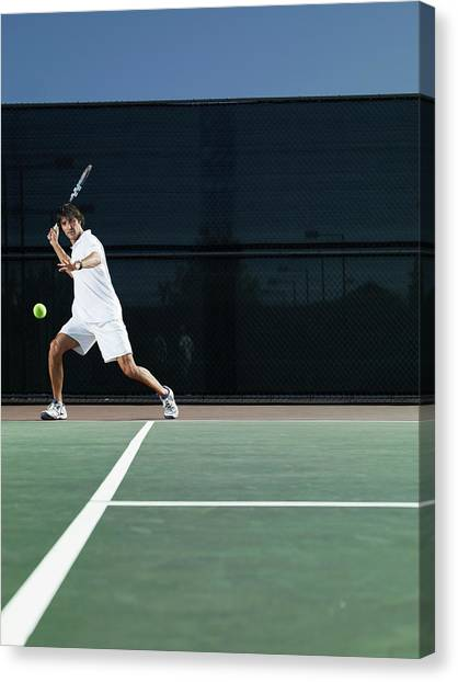 Man Playing Tennis On Court Canvas Print