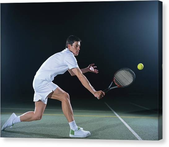Man Playing Tennis On Outdoor Court Canvas Print