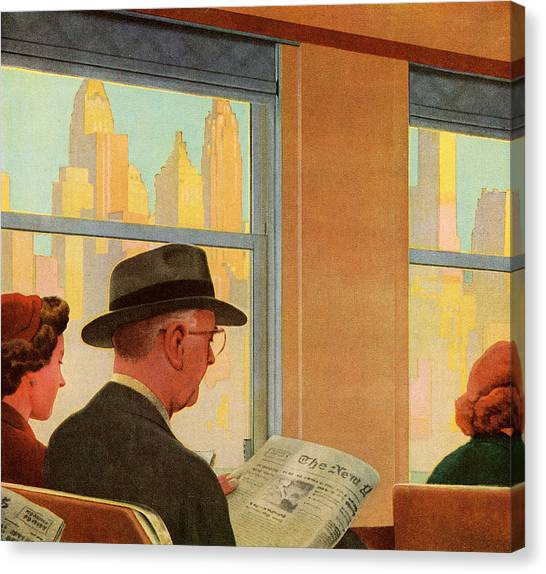 Man Reading On Train Canvas Print