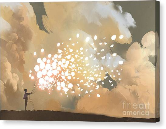 Yellow Butterfly Canvas Print - Man Releasing Glowing Balloons And by Tithi Luadthong