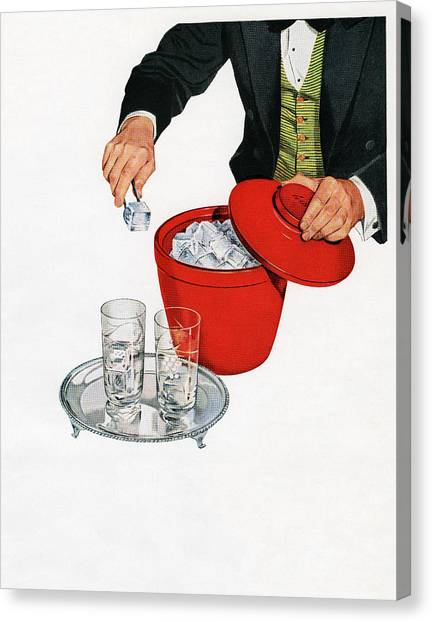 Man Serving Ice From Bucket Canvas Print