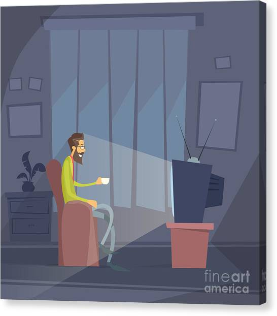 Media Canvas Print - Man Sitting Watching Tv Home Chair by Prostockstudio