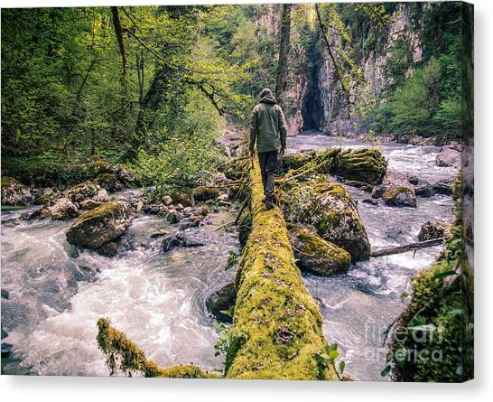 Happiness Canvas Print - Man Traveler Crossing River On Log by Everst