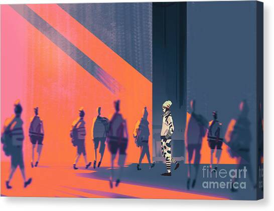 Personality Canvas Print - Man Walking To Different Way,unique by Tithi Luadthong