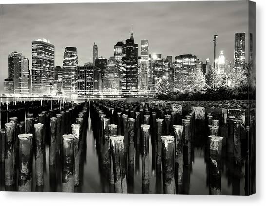 Manhattan At Night Canvas Print