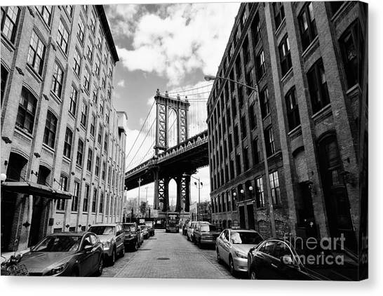 Manhattan Bridge Seen From A Brick Canvas Print by Youproduction
