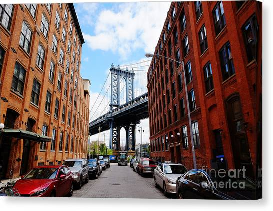 American Steel Canvas Print - Manhattan Bridge Seen From A Red Brick by Youproduction