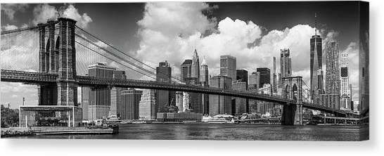 Manhattan Skyline And Brooklyn Bridge Panorama Monochrome Canvas Print by Melanie Viola