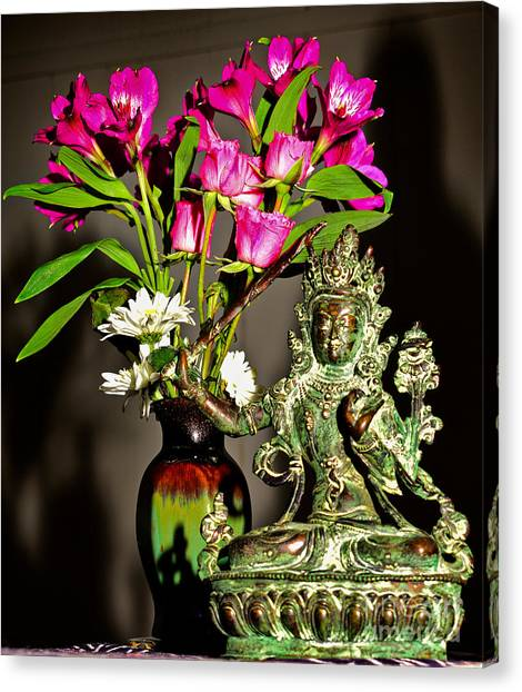 Canvas Print featuring the photograph Manjushri- Bodhisattva Of Wisdom by Lita Kelley