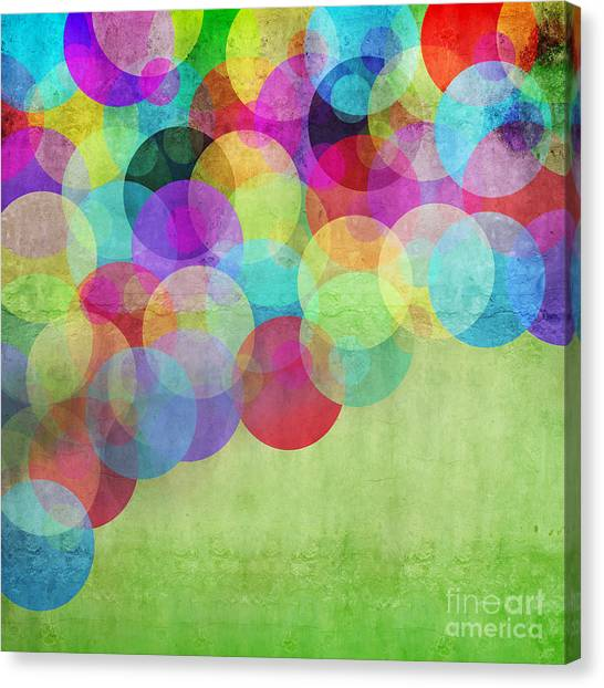 Purple Canvas Print - Many Vivid Color Circles On A Green by Valentina Photos
