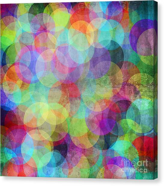 Purple Canvas Print - Many Vivid Color Circles On A Grunge by Valentina Photos