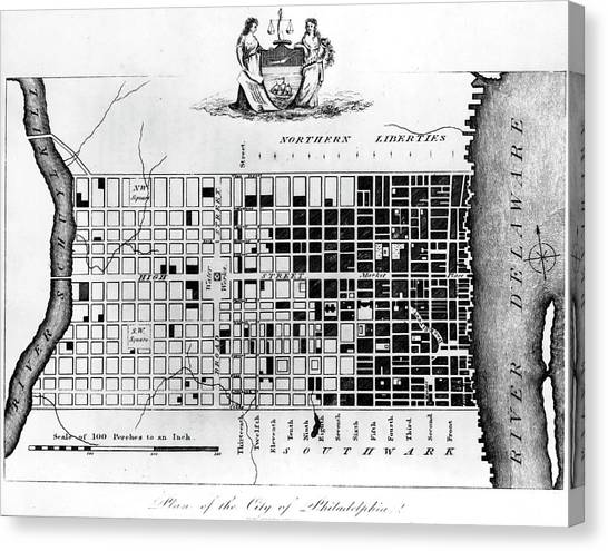 Map Of Colonial Philadelphia Canvas Print by Hulton Archive