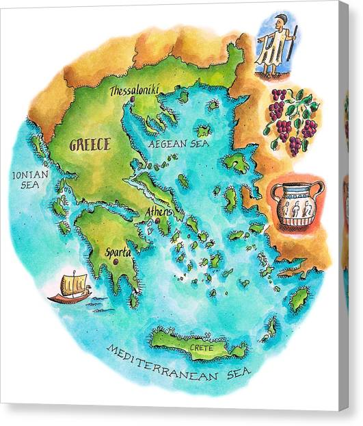 Map Of Greece & Greek Isles Canvas Print