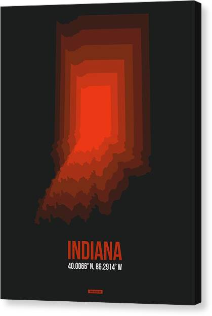 Indianapolis Canvas Print - Map Of Indiana 1 by Naxart Studio