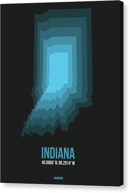 Indianapolis Canvas Print - Map Of Indiana 2 by Naxart Studio