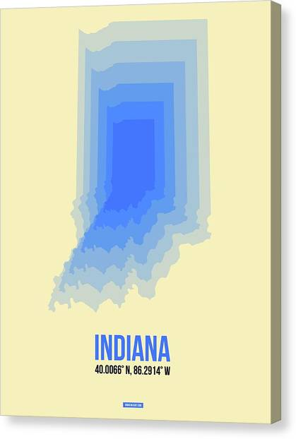 Indianapolis Canvas Print - Map Of Indiana by Naxart Studio
