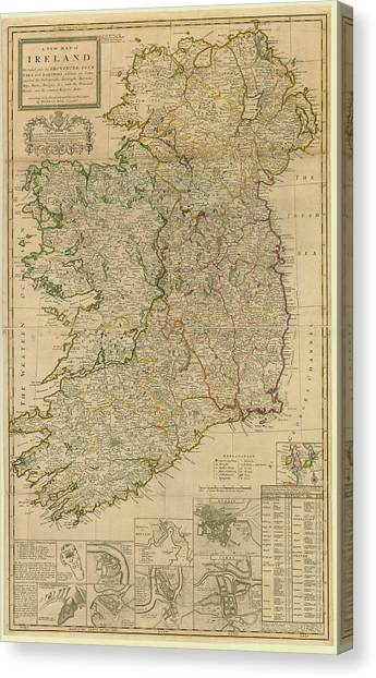 Map Of Ireland From 1714 Canvas Print