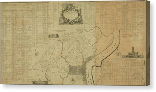 Map Of Philadelphia, Pennsylvania 1774 Canvas Print