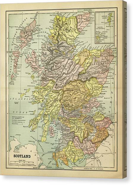 Map Of Scotland 1883 Canvas Print by Thepalmer