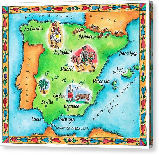Map Of Spain Canvas Print by Jennifer Thermes