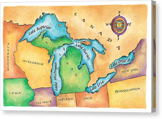 Map Of The Great Lakes Canvas Print