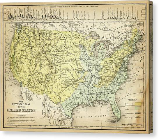 Map Of Usa 1867 Canvas Print