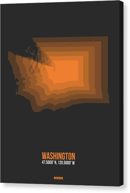 Vancouver Canvas Print - Map Of Washington Orange by Naxart Studio