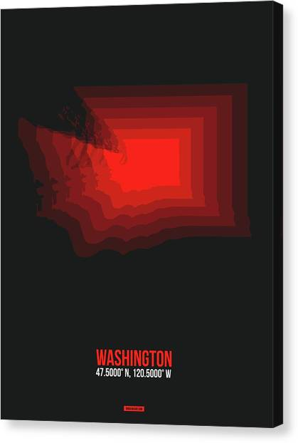 Vancouver Canvas Print - Map Of Washington Red by Naxart Studio