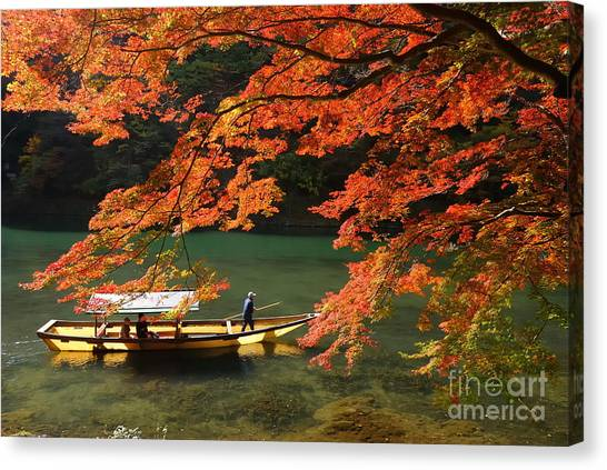 Japanese Gardens Canvas Print - Maple Tree And River by Wrchen