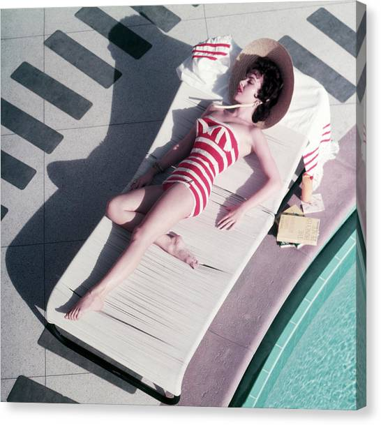 Mara Lane At The Sands Canvas Print by Slim Aarons