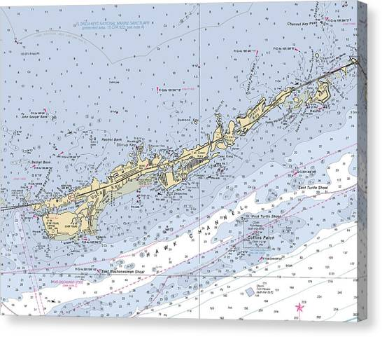 Marathon And Duck Keys Custom Noaa Nautical Chart Canvas Print