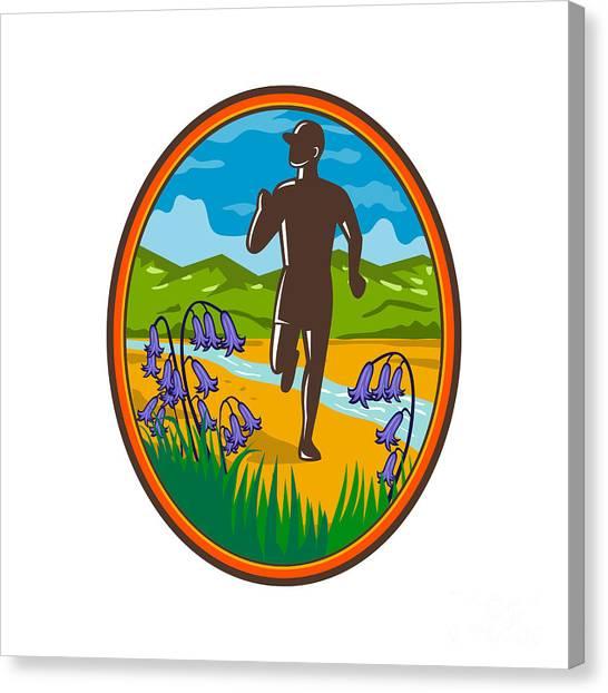 Fun Run Canvas Print - Marathon Runner And Bluebells Oval Retro by Aloysius Patrimonio