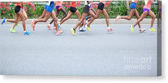 Exercising Canvas Print - Marathon Running Race, People Feet On by Lzf