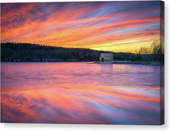 March Sunset At The Old Stone Church Canvas Print