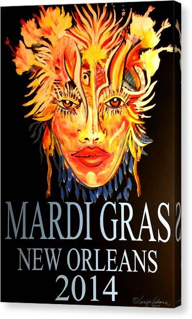 Mardi Gras Lady Canvas Print