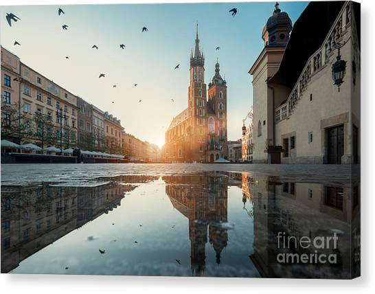 Church Canvas Print - Market Square And St. Marys Basilica In by Liseykina