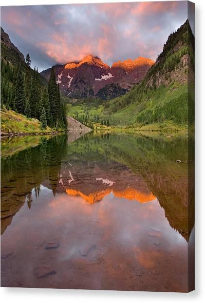 Maroon Bells Colorful Sunrise Canvas Print