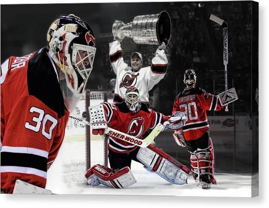 New Jersey Devils Canvas Print - Martin Brodeur Nhl Legend by Nicholas Legault