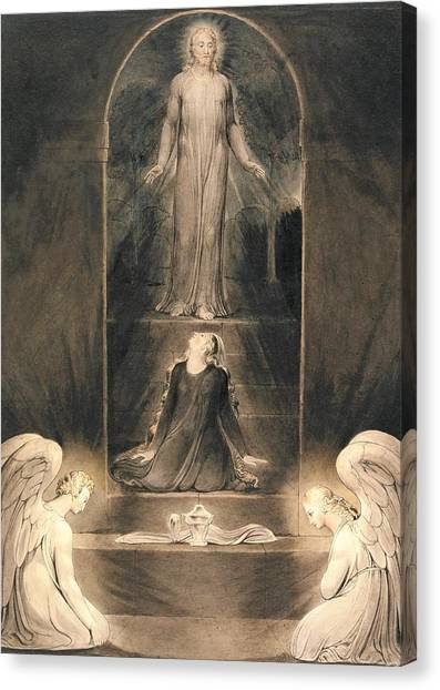Resurrected Canvas Print - Mary Magdalen At The Sepulchre - Digital Remastered Edition by William Blake