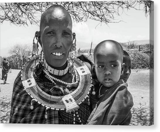 Masaai Mother And Child Canvas Print